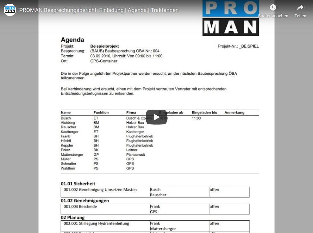 PROMAN Besprechungsbericht: Einladung | Agenda | Traktanden